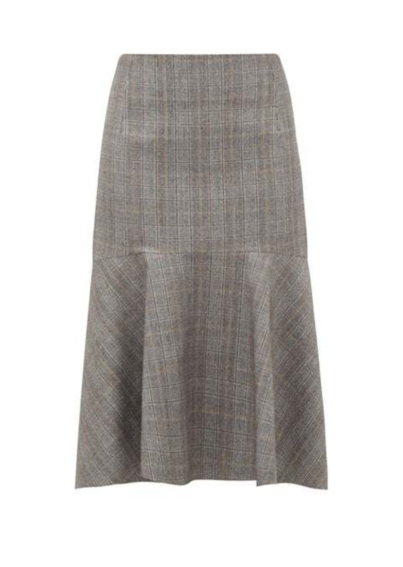 Balenciaga Prince of Wales-check wool midi skirt