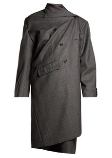 Balenciaga Prince of Wales-checked asymmetric wool coat