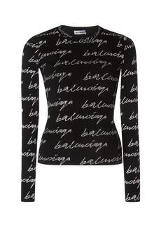 Balenciaga Printed Ribbed Stretch-Jersey Top