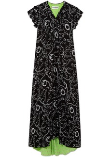 Balenciaga Printed Silk-crepe Midi Dress