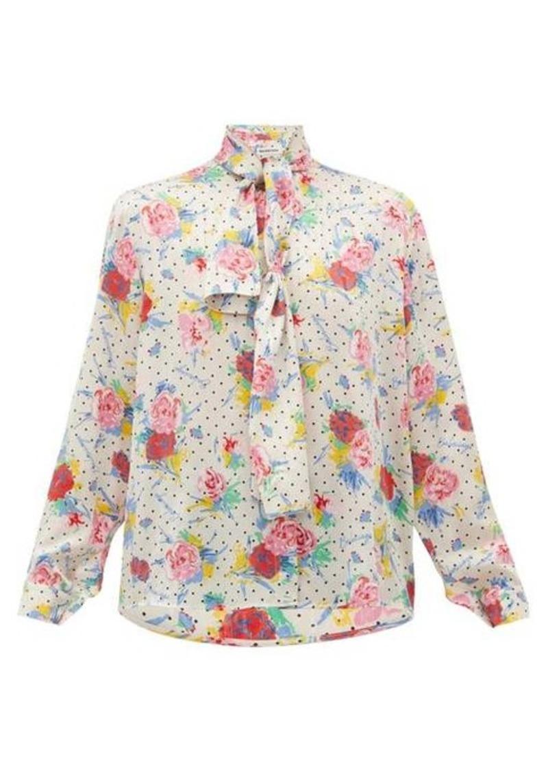 Balenciaga Pussy-bow floral-print silk-crepe blouse