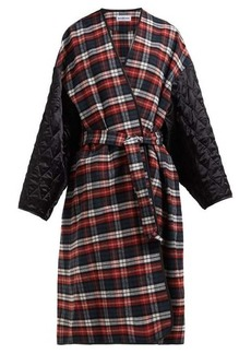 Balenciaga Quilted-sleeve checked cotton wrap coat