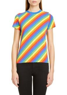 Balenciaga Rainbow Stripe Jersey Tee