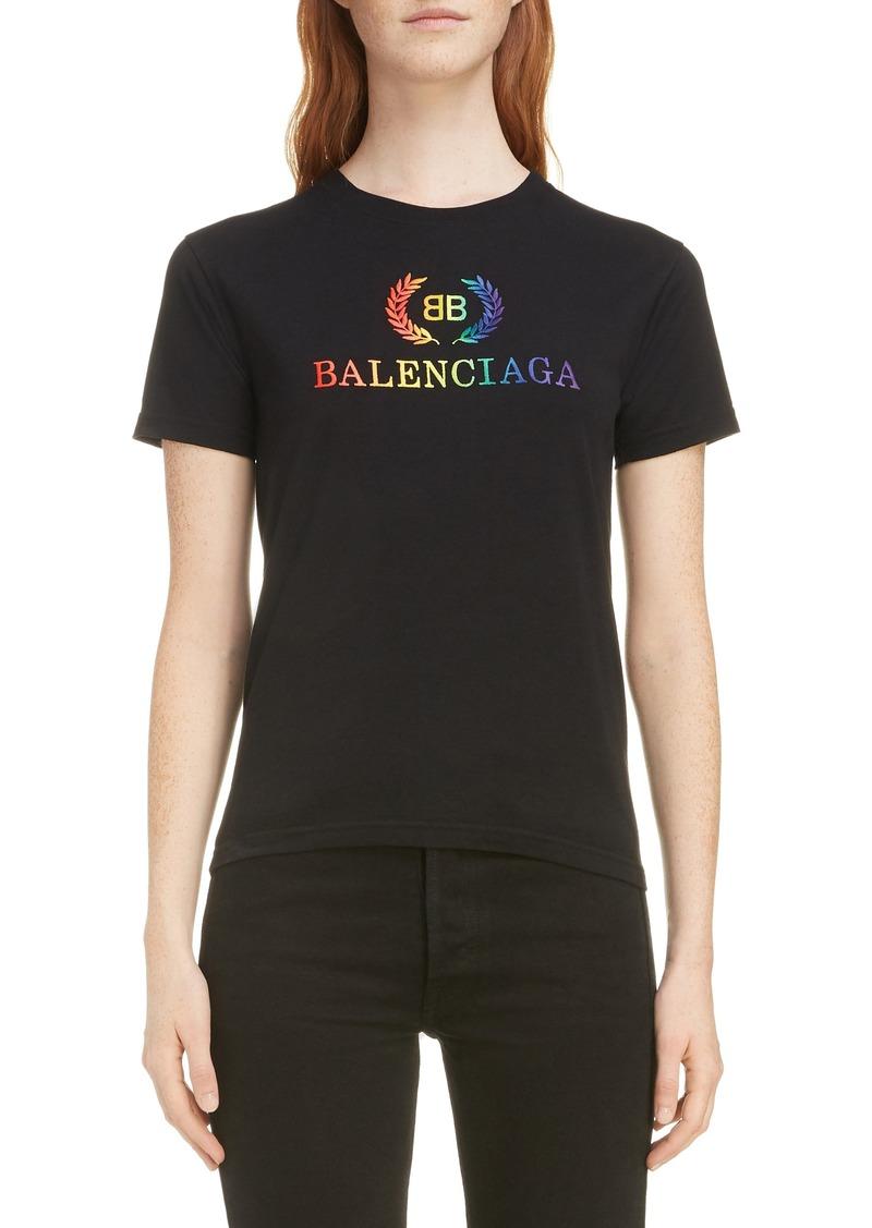 Balenciaga Rainbow Wreath Logo Tee