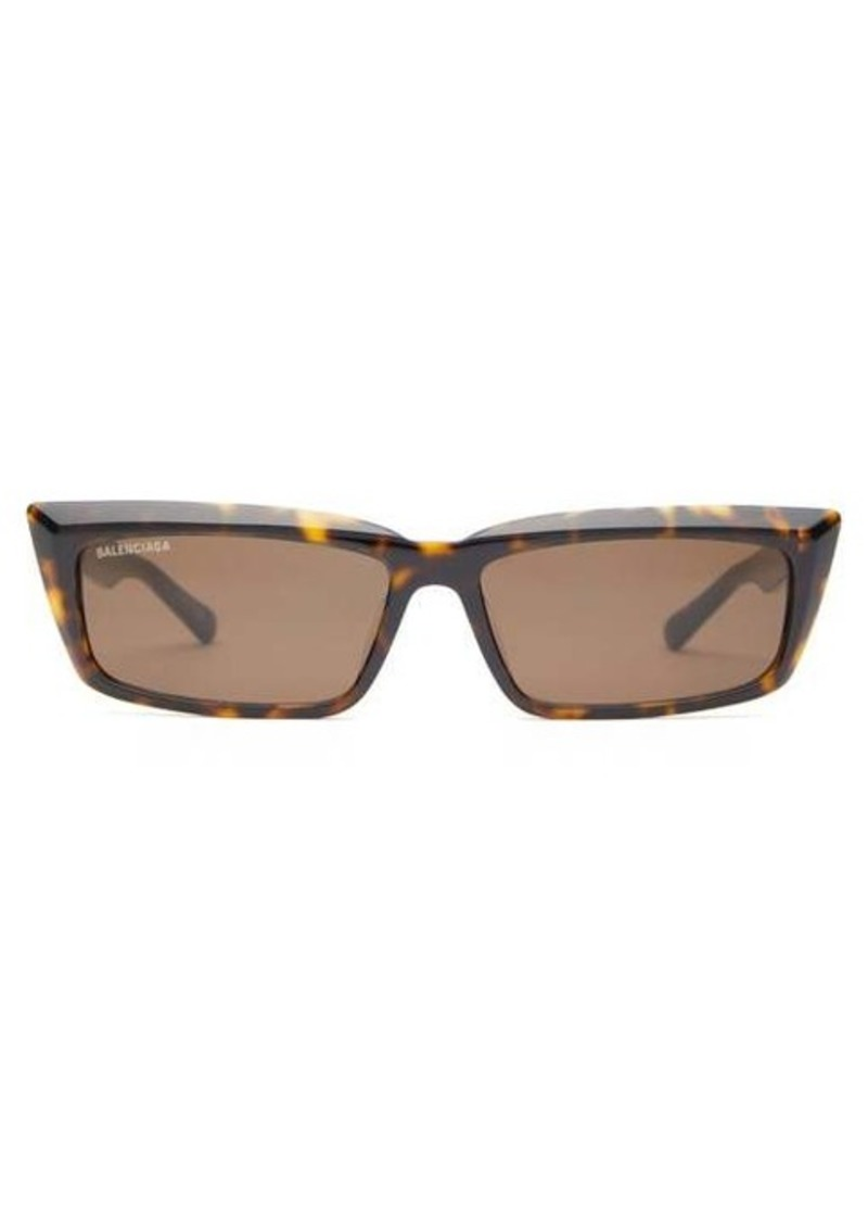 Balenciaga Rectangle tortoiseshell-effect acetate sunglasses