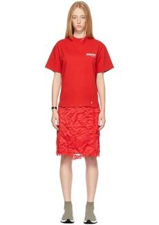 Balenciaga Red Political Campaign T-Shirt Slip Dress