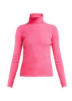 Balenciaga Ribbed-knit roll-neck hooded sweater
