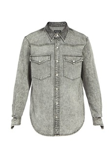 Balenciaga Ripped-cuff denim shirt