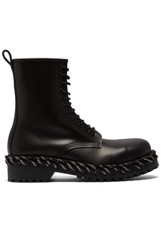 Balenciaga Rope-stitched high-top leather boots