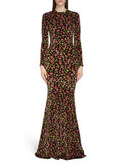 Balenciaga Rose Print Long Sleeve Stretch Velvet Mermaid Evening Gown