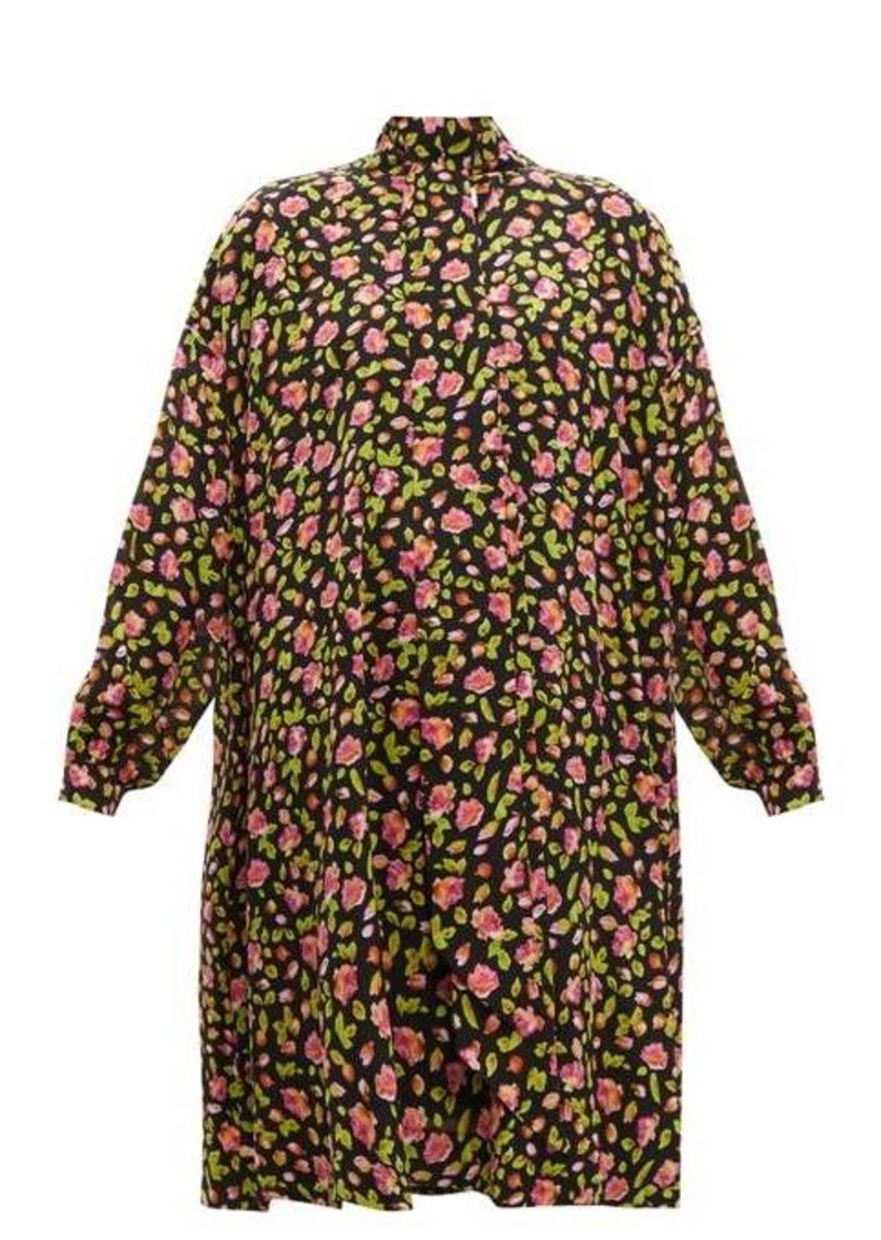 Balenciaga Rose-print silk-crepe dress