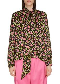 Balenciaga Rose Print Silk Tie Neck Blouse