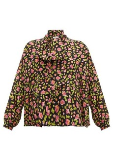 Balenciaga Rose-print tie-neck silk blouse