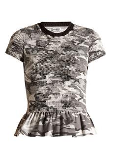 Balenciaga Round-neck camouflage-print wool T-shirt
