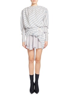 Balenciaga Ruched College Stripe Jacquard Dress