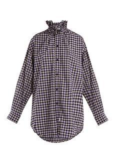 Balenciaga Ruffle-neck cotton flannel shirt