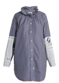 Balenciaga Ruffle-neck newsprint-panelled cotton blouse
