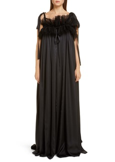 Balenciaga Ruffle Neck Satin Evening Gown