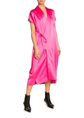 Balenciaga Satin Wrap-Front Dress