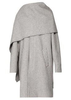 Balenciaga Draped-scarf houndstooth-wool coat
