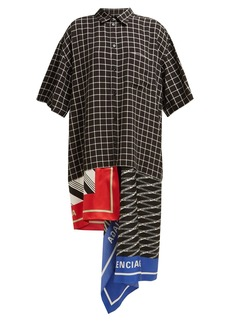 Balenciaga Scarf-panelled striped cotton shirtdress