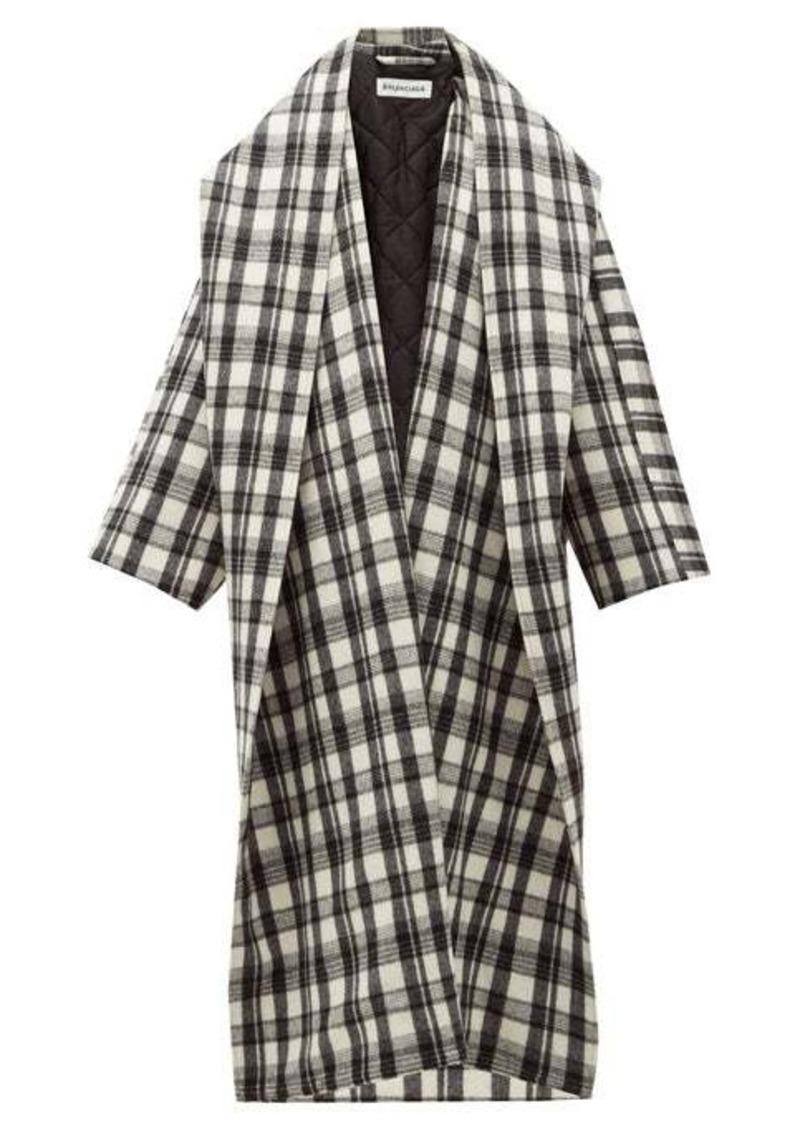 Balenciaga Shawl-lapel checked wool-blend oversized coat
