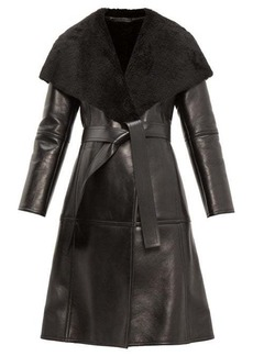 Balenciaga Shearling-collar single-breasted leather coat