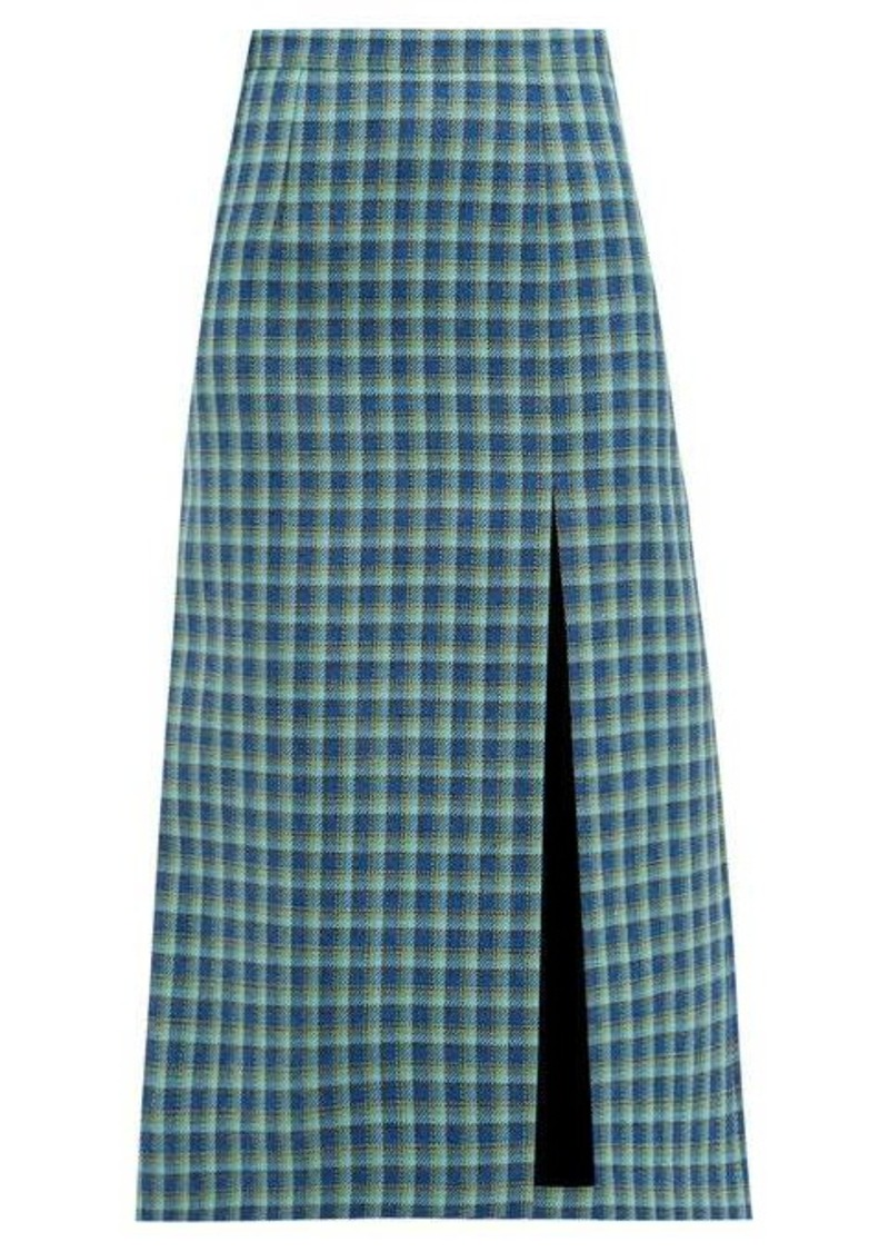 Balenciaga Side-slit checked wool midi skirt