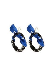 Balenciaga Silk-twill hoop drop earrings
