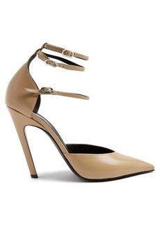 Balenciaga Slash triple-strap leather pumps