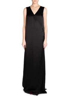 Balenciaga Sleeveless Fluid Satin Wrap Gown