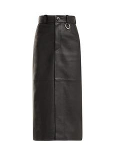 Balenciaga Slit-hem leather pencil skirt