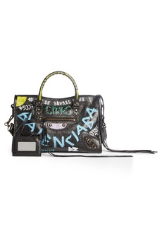 Balenciaga Small City Graffiti Leather Tote
