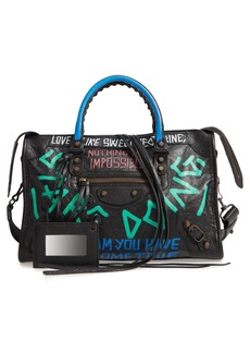 Balenciaga Small City New Graffiti Lambskin Leather Tote