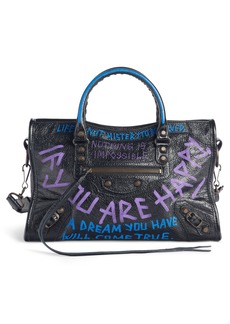 Balenciaga Small Classic City Graffiti Leather Tote