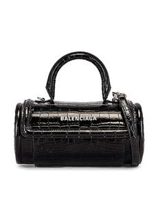 Balenciaga Small Embossed Croc Round Top Handle Bag