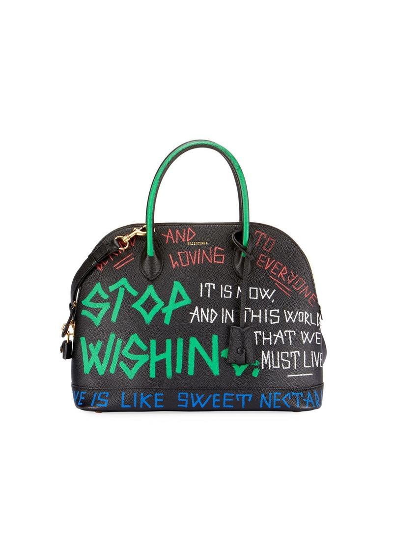 Balenciaga Small Graffiti Leather Top Handle Bag