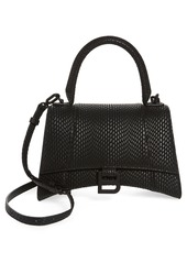 Balenciaga Small Hourglass Cobra Embossed Leather Top Handle Bag in Black at Nordstrom