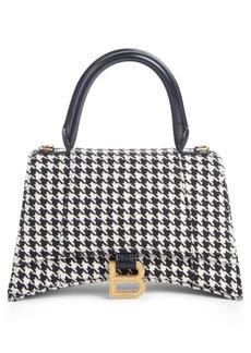 Balenciaga Small Hourglass Houndstooth Top Handle Bag