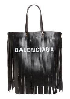 Balenciaga Small Laundry Cabas Fringe Calfskin Tote