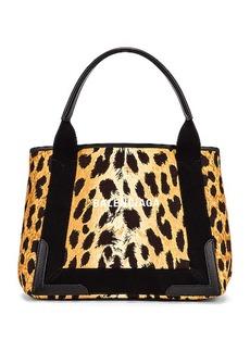 Balenciaga Small Leopard Navy Cabas Bag
