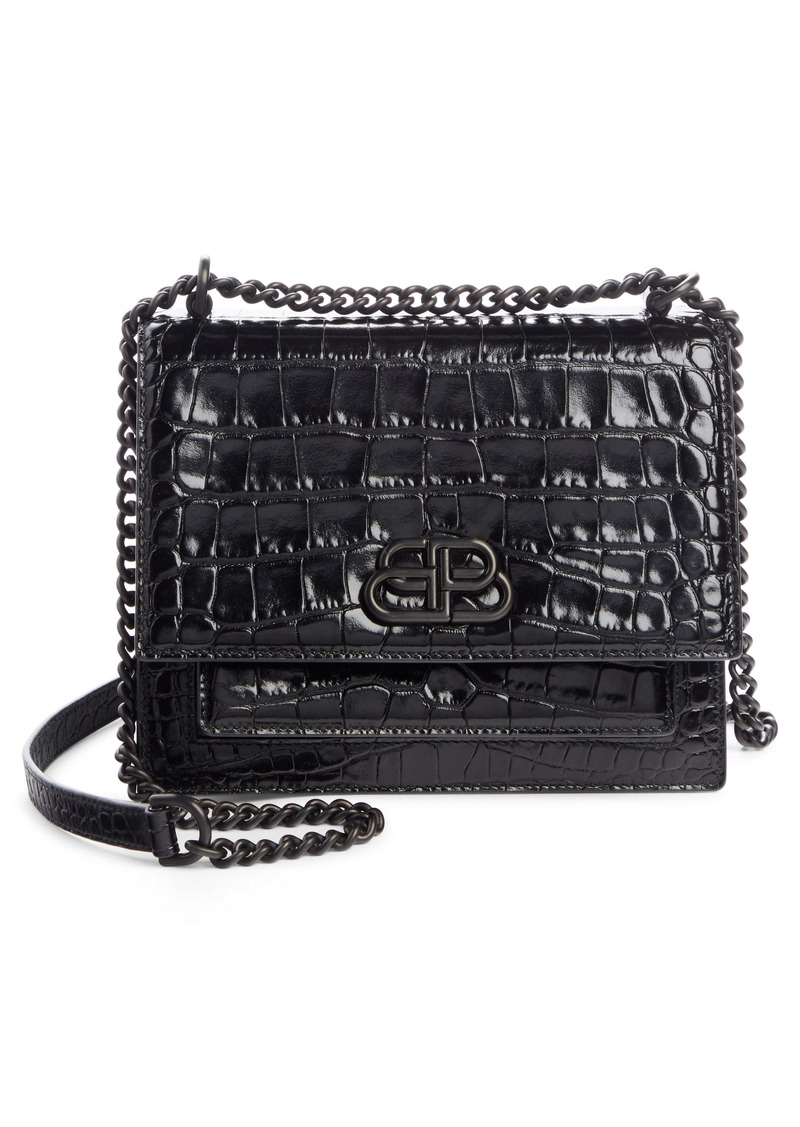 Balenciaga Small Sharp Croc Embossed Calfskin Leather Shoulder Bag