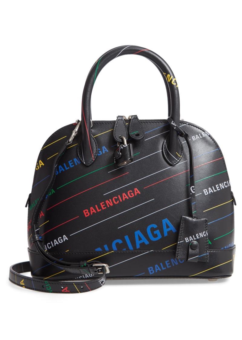 Balenciaga Small Ville Logo Calfskin Satchel
