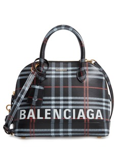 Balenciaga Small Ville Logo Leather Dome Satchel