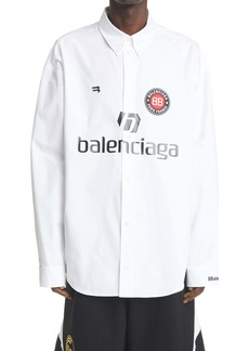 Balenciaga Soccer Logo Oversize Poplin Button-Down Shirt