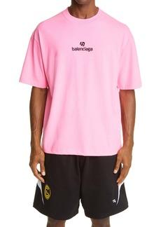 Balenciaga Sponsor Logo Embroidered Medium Fit Men's T-Shirt