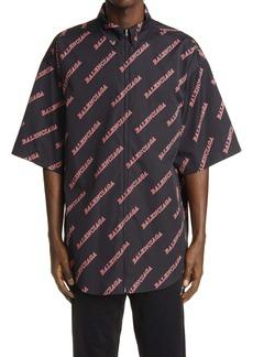 Balenciaga Sporty Logo Zip Front Cotton Short Sleeve Button-Down Shirt