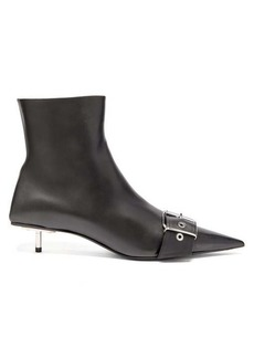 Balenciaga Square Knife buckled leather ankle boots