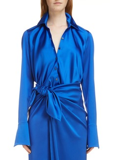 Balenciaga Stretch Satin Drape Back Shirt