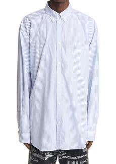 Balenciaga Stripe Cotton Button-Down Shirt